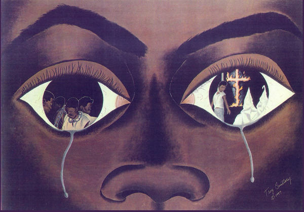 Crying Black Woman Painting